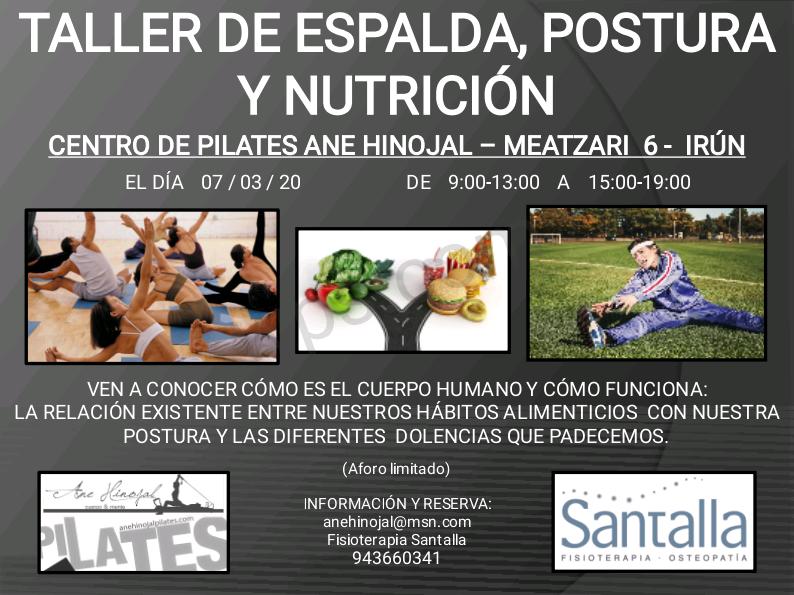Cartel taller de espalda, postura y nutrición